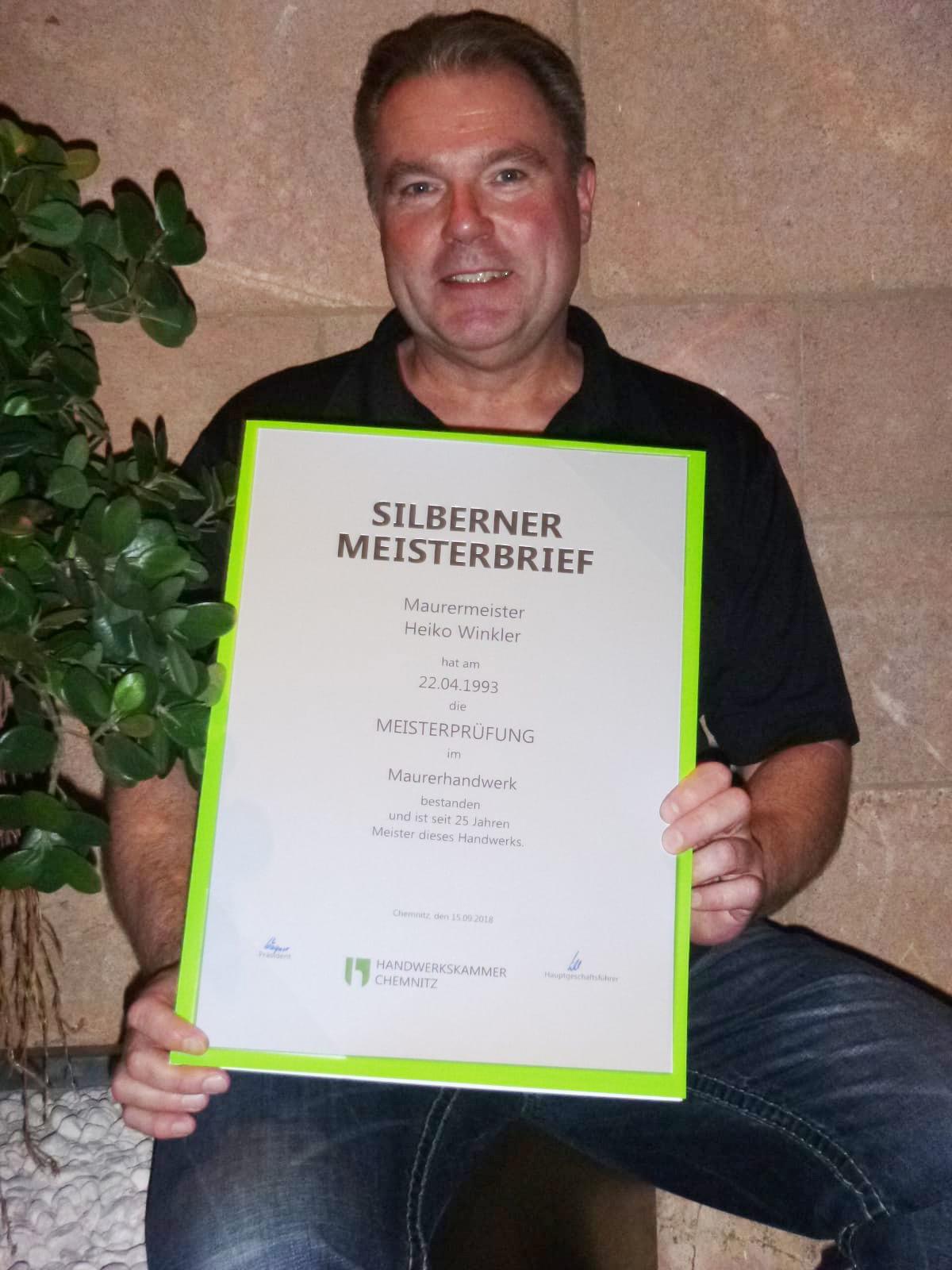 Heiko Winkler Silberner Meisterbrief